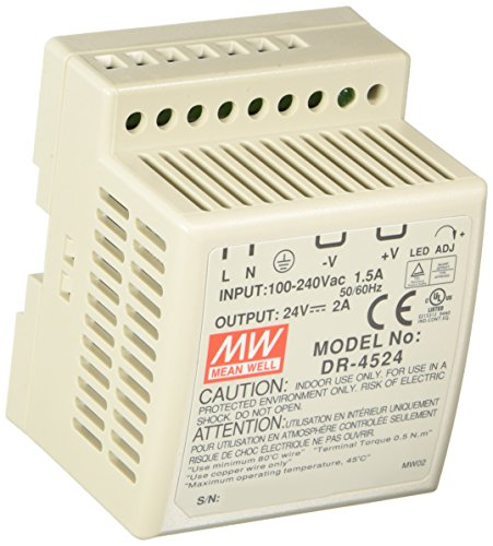 MEAN WELL DR-4524 AC to DC DIN-Rail Power Supply, 24V, 2 Amp, 48W, 1.5