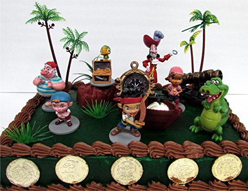 Jake and the Never Land Pirates 18 Piece Cake Topper Set Featuring Jake, Izzy, Cubby, Skully, Captain Hook, Tick-Tock Croc and Smee, Themed Decorative Accessories, Figures Average 2.5