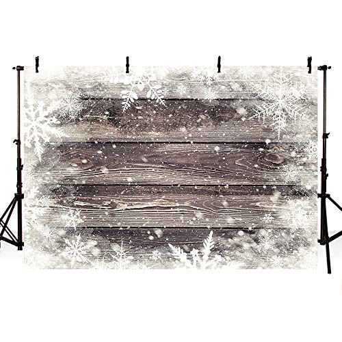 MEHOFOTO Winter Wood Photography Backdrops Props Winter Wonderland Snowflakes Birthday Wedding Party Decoration Photo Studio Booth Background Banners 7X5ft]()