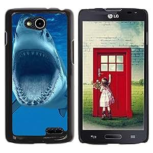 TopCaseStore / la caja del caucho duro de la cubierta de protección de la piel - Shark Jaws Teeth Vicious Blue Underwater - LG OPTIMUS L90 / D415