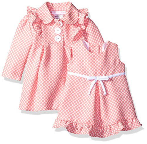Bonnie Baby Baby Check Jacquard Ribbon Trim Dress and Coat Set, Coral, 3-6 Months (Jacquard Coat Dress)