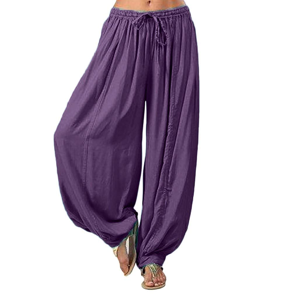 Pants for Women, Pervobs Women Loose Elastic Waist Harem Pants Yoga Bloomers Pants Trousers(M, Purple)