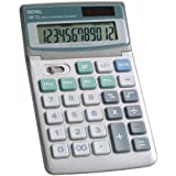 Royal Machines XE72 Calculator with 12 Digit Tiltable Display, Solar and Battery Power