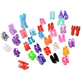 Asiv 60 Pairs Different High Heel Shoes Boots Outfit Accessories for Barbie Doll Girls Play House Party Xmas Gift Random