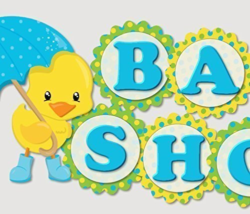 Rubber Duck Baby Shower Theme - Rubber Ducky Duck Umbrella Baby Shower Banner Party Decoration Supplies -
