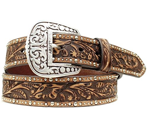 Ariat Women's Embossed Inlay Nailhead Pattern Belt,Brown,M (Ariat Embossed Belt)