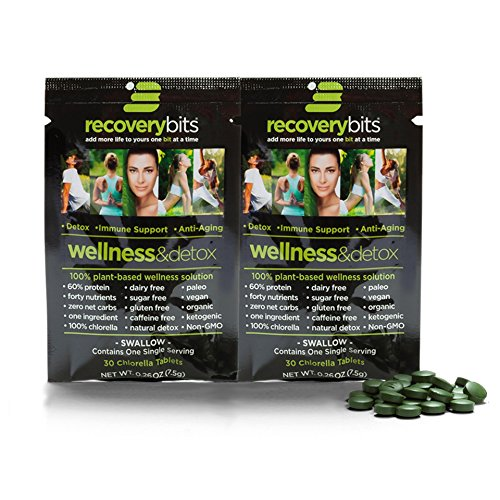 RECOVERYbits Chlorella Algae Tablets Organically Grown, Cracked Cell Wall, Non-GMO, vegan, paleo, ketogenic, raw. 100% pure green Chlorella Pyrensoidosa, a plant-based, 2 Single (Cracked Wall)