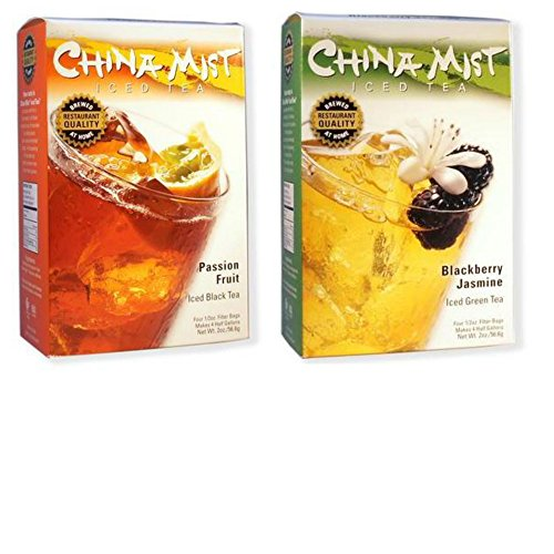 China Mist Tea 2-Pack Bundle - Passion Fruit Iced Black Tea & Blackberry Jasmine Iced Green Tea (Green China Tea Mist)