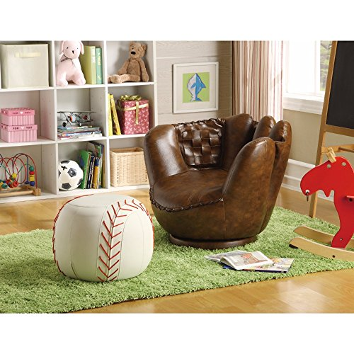 Benzara BM157877 Baseball Glove Living Room Chairs, 2 Piece, Brown/White - Baseball Chair And Ottoman