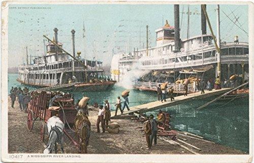 Historic Pictoric Postcard Print | A Mississippi River Landing, 1898 | Vintage Fine Art (Mississippi Postcard)