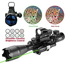 UUQ 4-16x50 Tactical Rifle Scope Red/Green Illuminated Range Finder Reticle W/ RED(GREEN) Laser and Multi Coated Holographic Reflex Dot Sight (12 Month Warranty) (Green Laser W/ New Dot sight)