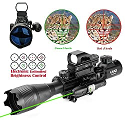 Uuq 4-16x50 Tactical Rifle Scope Redgreen Illuminated Range Finder Reticle W Red(green) Laser & Multi Coated Holographic Reflex Dot Sight (12 Month Warranty) (Green Laser W New Dot Sight)
