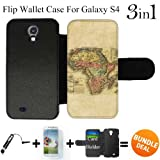 Vintage Map of Africa Custom Galaxy S4 Cases Flip Wallet Case,Bundle 3in1 Comes with Screen Protector/Universal Stylus Pen by innosub