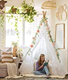 Tiny Land Luxury Lace Teepee Tent Girls & Adults (XX-Large 7' Tall) 5-Poles Lace Canopy Indoor & Outdoor Use | Wedding, Birthday, Boho Décor | Photography Prop