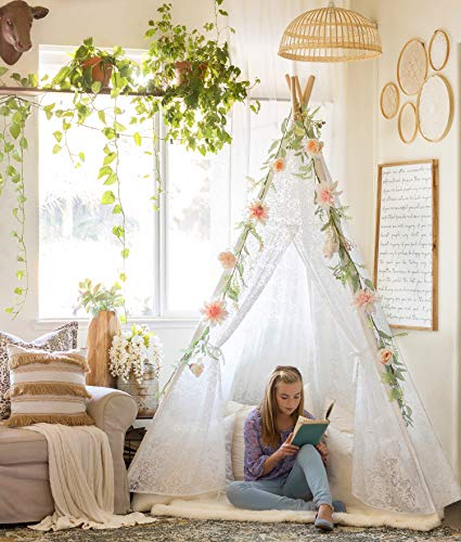 Teepee American Indian Native (Tiny Land Luxury Lace Teepee Tent Girls & Adults (XX-Large 7' Tall) 5-Poles Lace Canopy Indoor & Outdoor Use | Wedding, Birthday, Boho Décor | Photography Prop)