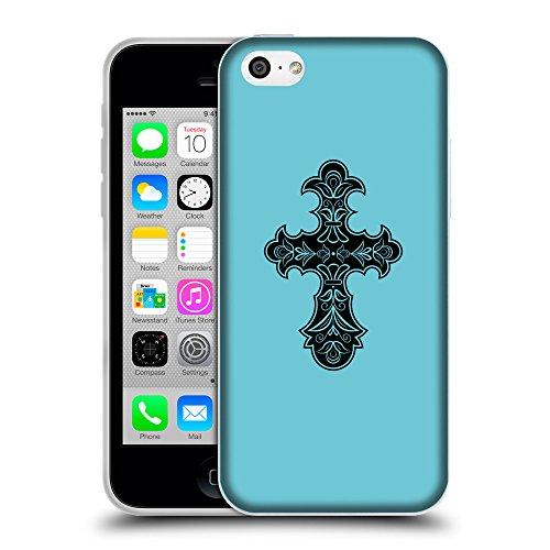 GoGoMobile Coque de Protection TPU Silicone Case pour // Q07830627 Christian Cross 8 Cyan // Apple iPhone 5C