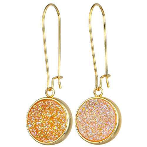 SUNYIK Round Natural Crystal Druzy Kidney Hook Dangle Earrings for Women, Gold AB (Aura Gold Earrings)