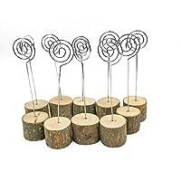 senover Rústico Real Base de madera Nombre de la mesa de la boda Titular de la tarjeta Decoración del partido Titulares de la tarjeta Nota memo Nota Titular de clip de foto (Números de la tabla 10pcs)