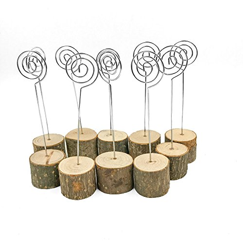 senover Rustic Real Wood Base Wedding Table Name Number Holder Party Decoration Card Holders Picture Memo Note Photo Clip Holder (10pcs Table Numbers)