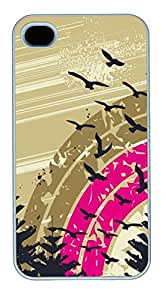 iPhone 4S Case and Cover -Abstract geese PC case Cover for iPhone 4 and iPhone 4s ¨C White