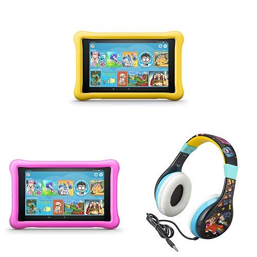 All-New Fire HD 8 Kids Edition Tablet 2-pack - Yellow/Pink, with Wreck It Ralph 2 Kids Headphones