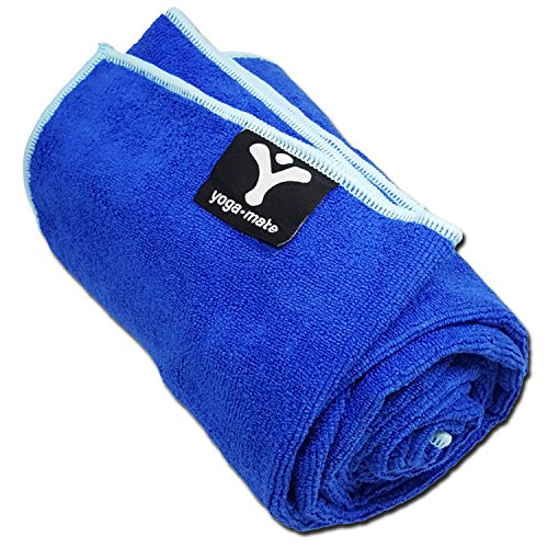 Yoga Mate Soft, Sweat Absorbent, Non-Slip Bikram Yoga Mat Size Towel, Blue | Light Blue Trim
