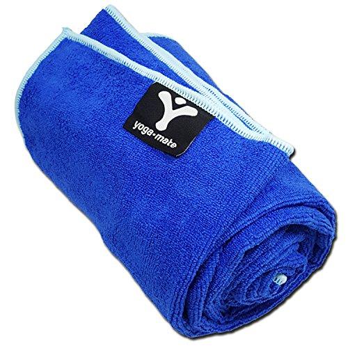 Yoga Mate Soft, Sweat Absorbent, Non-Slip Bikram Yoga Mat Size Towel, Blue | Light Blue Trim