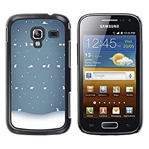 Be Good Phone Accessory // Dura Cáscara cubierta Protectora Caso Carcasa Funda de Protección para Samsung Galaxy Ace 2 I8160 Ace II X S7560M // Bear Winter Snow White Blue Cold