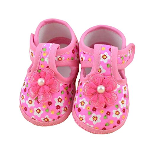 Crib Shoes,Kimanli Summer Baby Girls Flower Boots Soft Crib Shoes (3~6 Months)