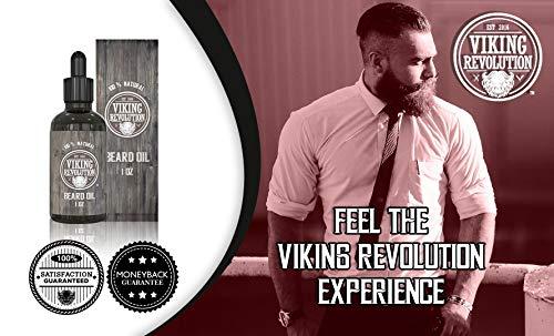 Viking Revolution Beard Oil Conditioner - All Natural Unscented Argan & Jojoba Oils – Softens, Smooths & Strengthens Beard Growth – Grooming Beard and Mustache Maintenance Treatment, 1 Pack