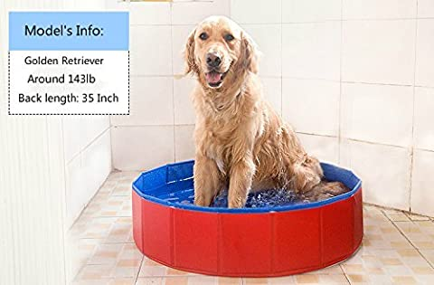 NEWSTYLE Dog Bathing Tub - Foldable Small Pet Dog Cat Swimming Pool Bathtub Washer - 32inch.D x (Tub For Small Pets)