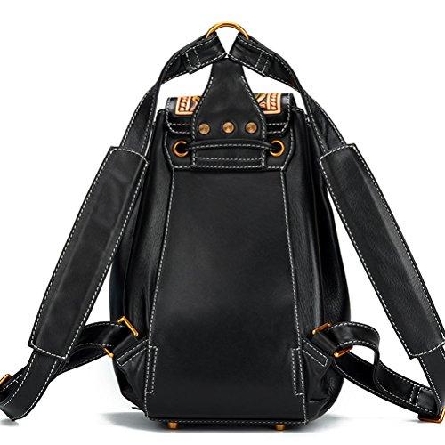 rétro à sculpture sac personnalité Tang national sauvage cuir en à sac vent Noir première Femme KANG la coréenne dos main à couche cuir bandoulière en Cao LEATHER AN sac tqzR0q