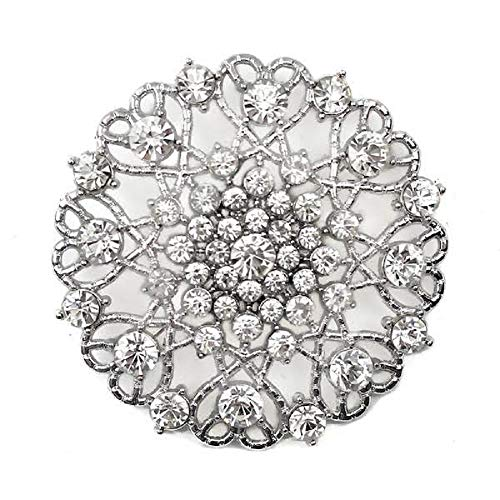 Event Decor Direct Ornate Diamond-encrusted Round Brooch In Silver