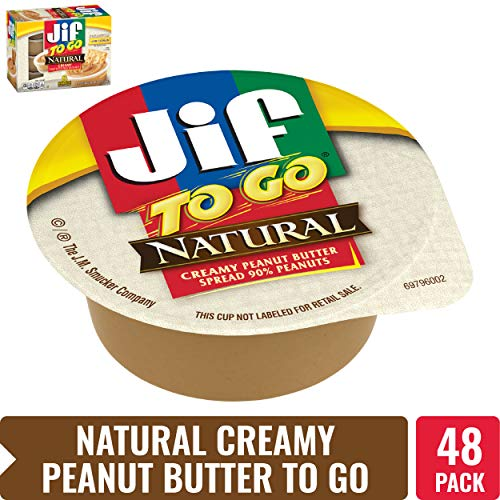 Jif To Go Natural Creamy Peanut Butter, 1.5 oz., 6-12oz 8 pack (48 Total Cups) - Convenient On the Go Pack, 7g (7% DV) of Protein per Serving, Smooth, Creamy Texture - No Stir Natural Peanut Butter ()