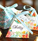 Hilarocky 50 pcs Lovely Triangle Floral Party Wedding Favors Candy Box with Ribbons