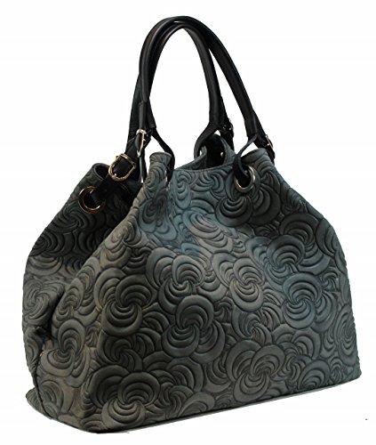 Italy dunkelgrau Handtasche Damen Prägung Designer Bag Bozana Shopper Ledertasche Tasche Neu grün Lea Wildleder Grau EwgfqXF