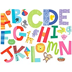 Wallies Wall Decals, Alphabet Fun Wall Stickers, Includes 26 Letters