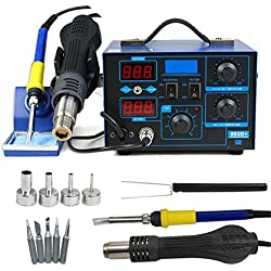 Soldering Iron Station with Hot Air Rework Gun - LED Display and 4 Nozzels