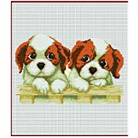 Marrón Blanco Dos Cachorros Perros Kit de punto