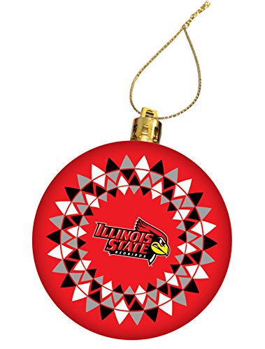 Illinois State Tree (Illinois State University Holiday Christmas Ornament, Design 3 - Red)