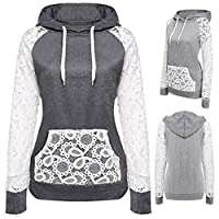 KESEE Clearance Coat ? Women Sheer Lace Long Sleeve Hooded Patchwork Sweatshirt Pockets