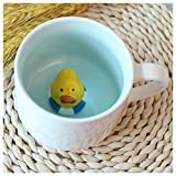 3D Cute Cartoon Novelty Ceramic Mug Hidden Creature Inside, Duck, White Deal (Small Image)