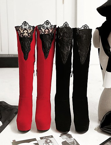 Tacón Red Cn41 Uk7 Vellón Punta Mujer Stiletto Uk8 Redonda us10 Eu42 5 Moda La Botas Zapatos Cn us9 Eu40 Casual Xzz Negro Red Rojo Vestido Encaje 5 A De Cn43 qC4w6xtnf