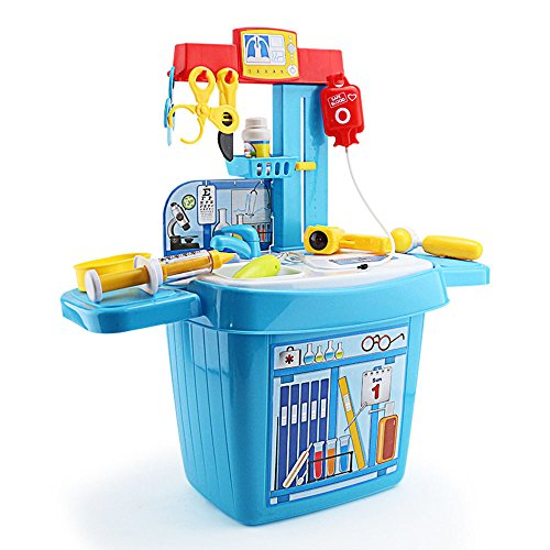 SZJJX Doctor Toys Set Role Play Kits Pretend Play Toys Plastic Health Care Deluxe Simulation Kits Portable Playset with Working Desk (Doctor Desk)