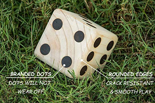 Giant Wooden Yard Dice Set of 6 Yard Outdoor Games Large Yard Dice Lawn Games