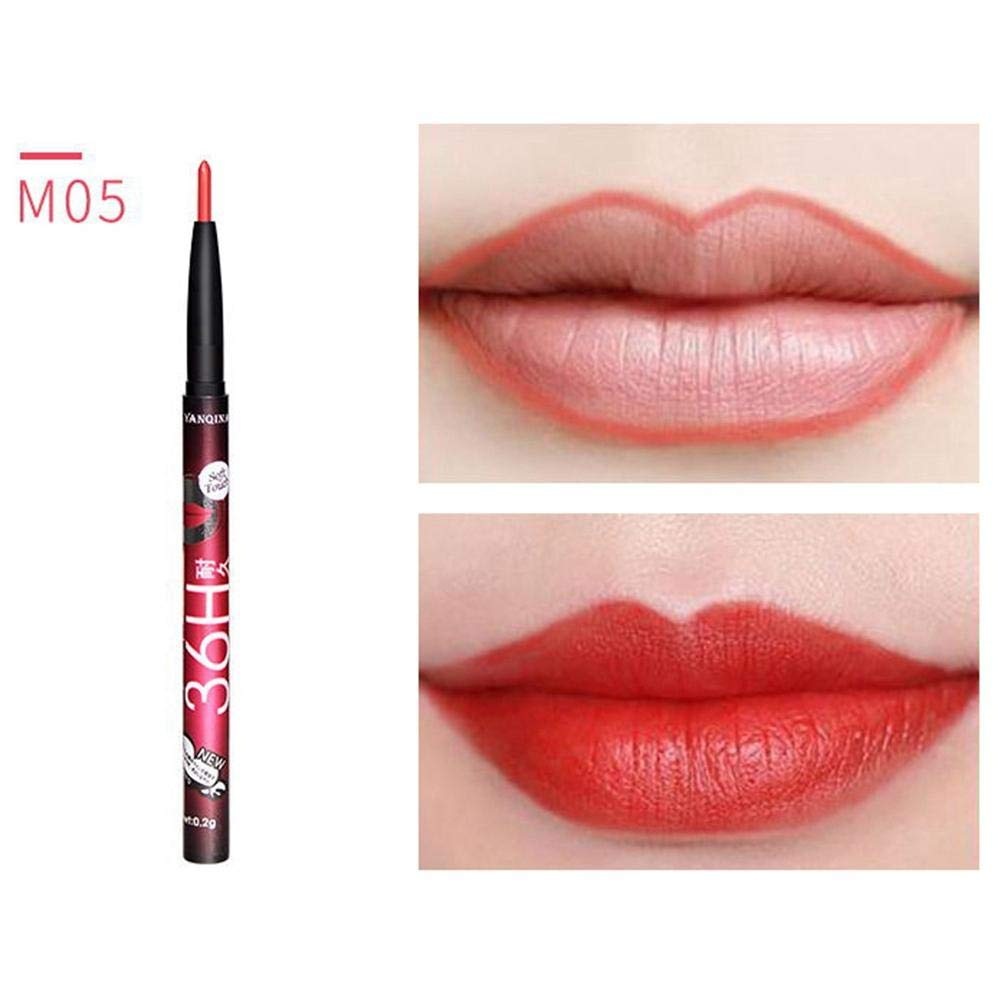 Lápiz de labios de larga duración, impermeable, hidratante, antidescoloración, mate lápiz labial giratorio, lápiz labial, lápiz labial, herramientas de maquillaje Leo565Tom