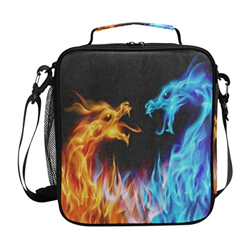Abstract Red Blue Fiery Dragon Lunch Bag Womens Insulated Lunch Tote Containers Zipper Square Lunch Box for Kids Men ()