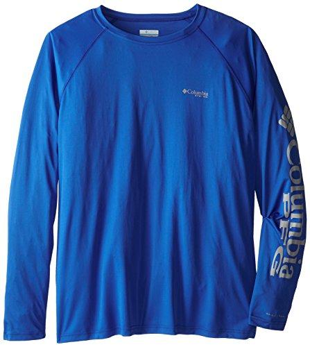 Columbia Sportswear Men's Terminal Tackle Long Sleeve Shirt, Vivid Blue/Cool Grey Logo, 4X ()