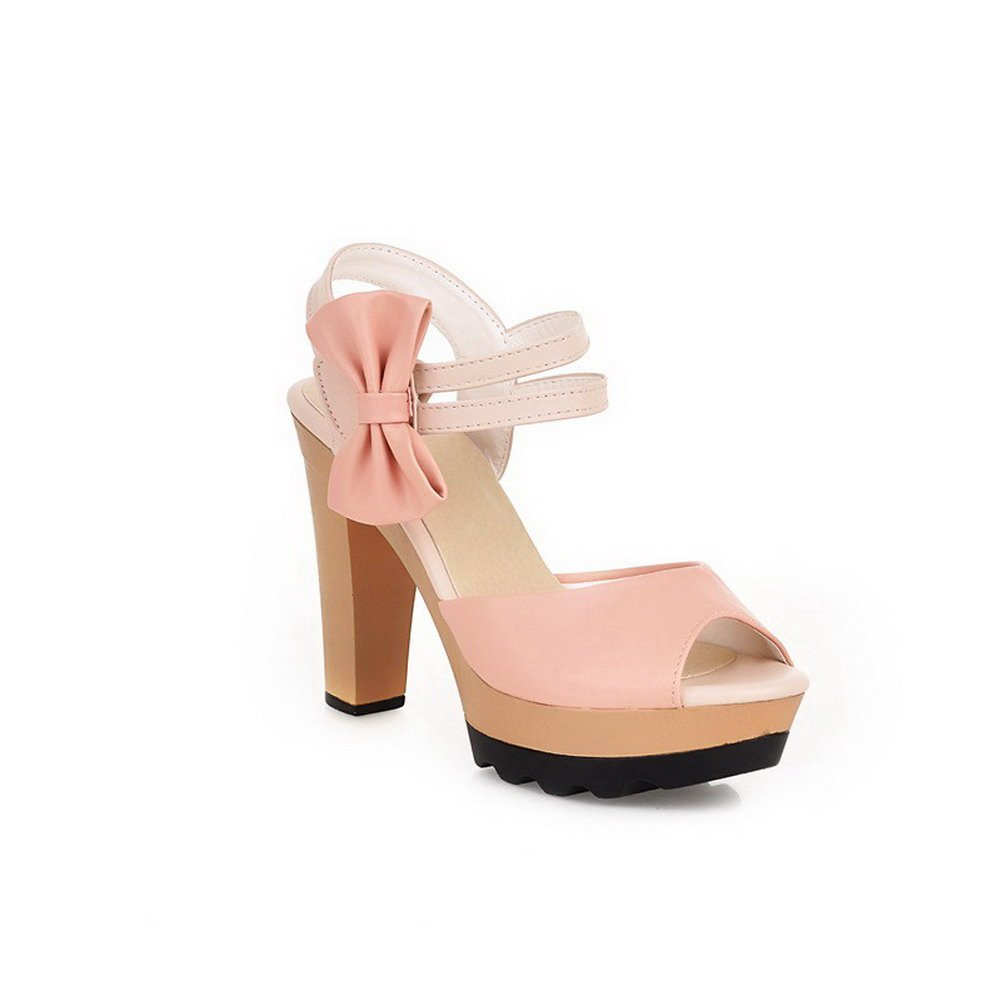 WeiPoot Women's High-Heels Soft Material Assorted Color Hook-and-loop Open Toe Heeled-Sandals, Pink, 34 by WeiPoot