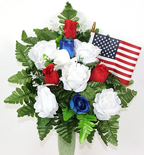 Gorgeous Memorial Vererans Day 4th Of July Cemetery Arrangement For Mausoleum